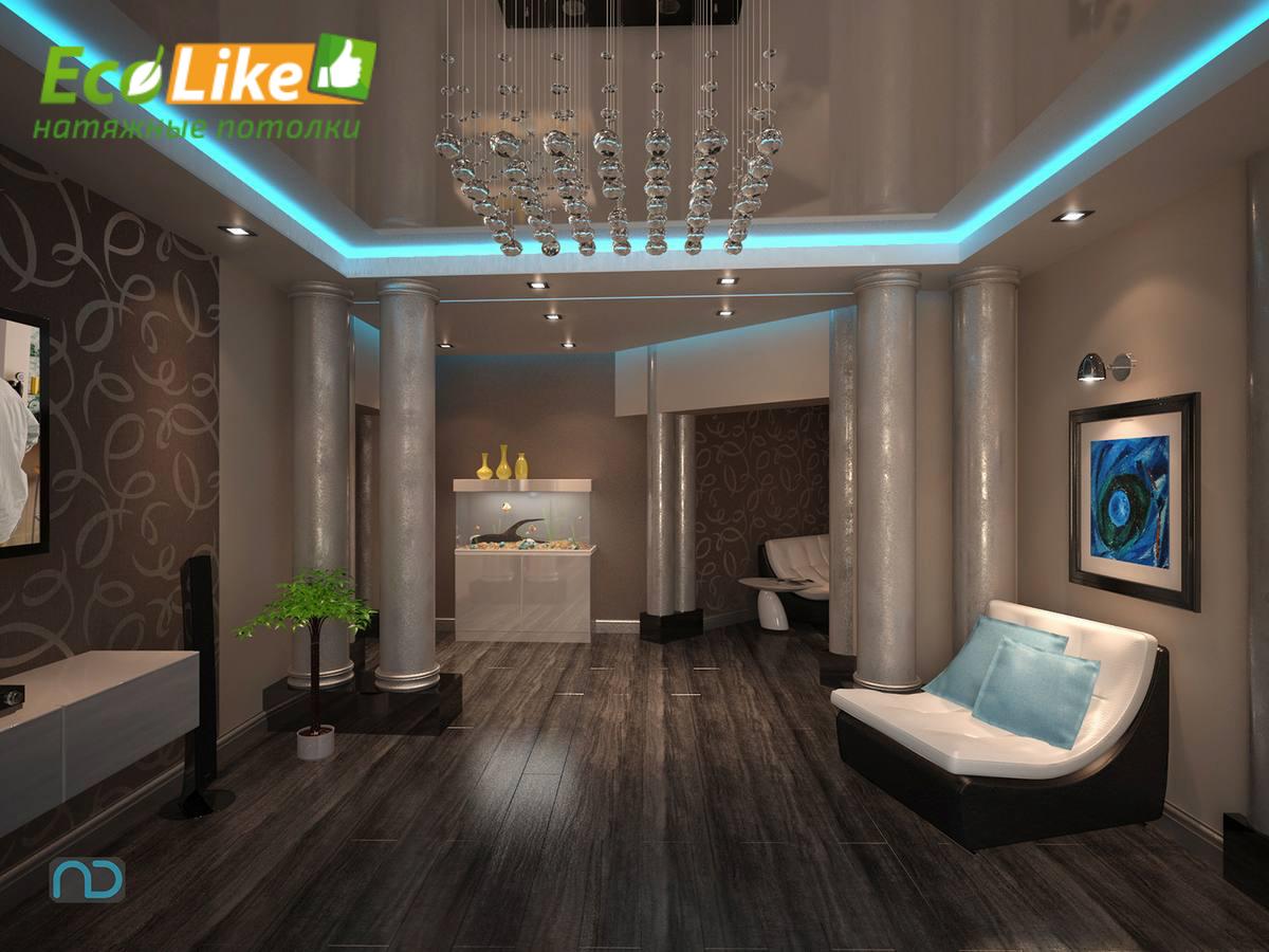 Фото стильные натяжные потолки для зала