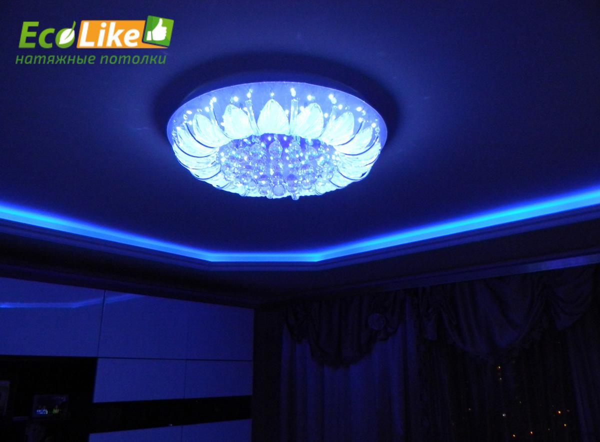 Потолок из гипсокартона с подсветкой своими руками 60