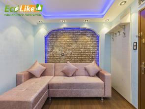 Двухуровневый натяжной потолок со светодиодной подсветкой фото