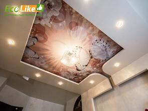 Многоуровневый натяжной потолок с фотопечатью фото