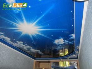 Натяжной потолок с фотопечатью небо фото