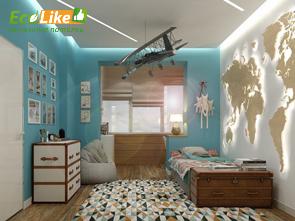 Парящий натяжной потолок в детской комнате фото