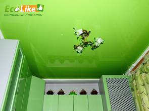 Зелёный глянцевый натяжной потолок на кухне фото