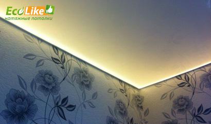 Парящие потолки со светодиодной лентой тёплого свечения
