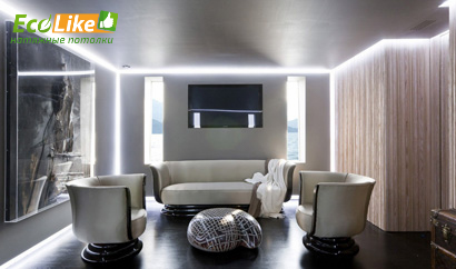 Парящий потолок с белой подсветкой