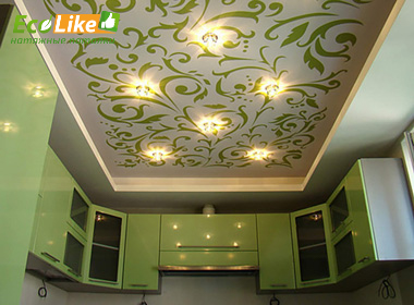 Тканевый натяжной потолок с двумя уровнями